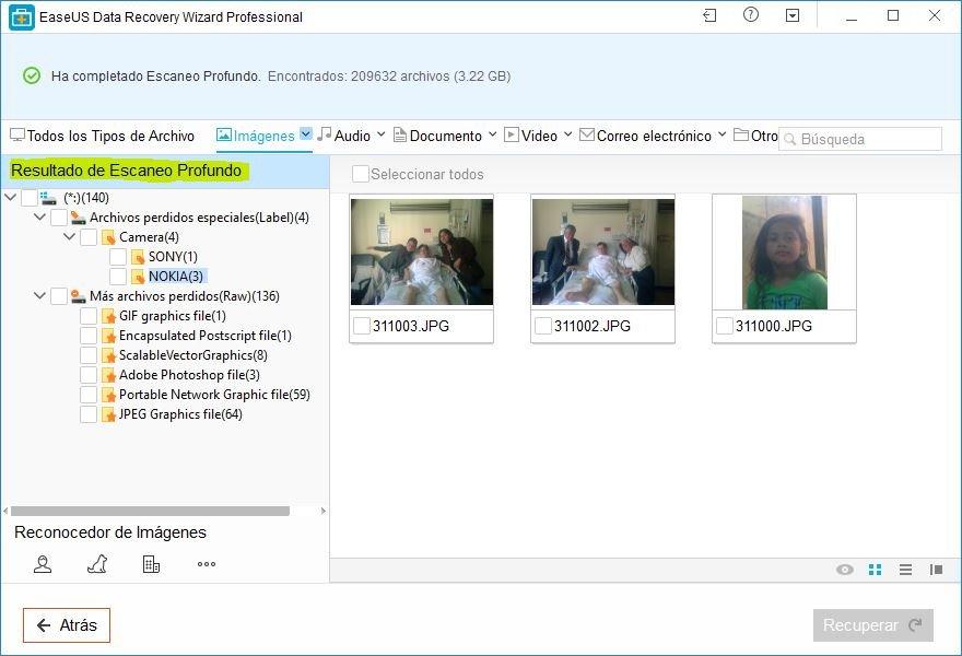 recuperar archivos borrados con EaseUS data recovery