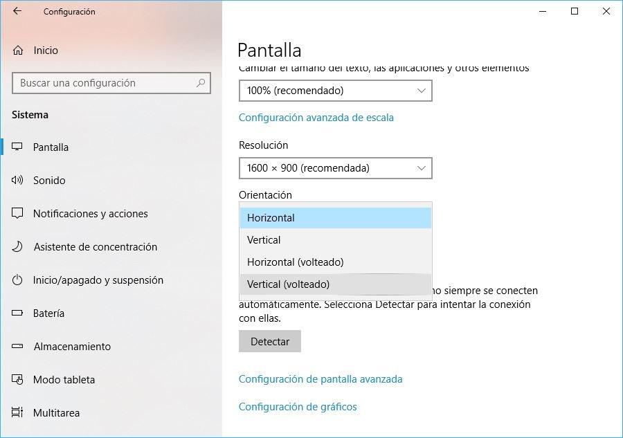 rotar pantalla en Windows 10 desde los ajustes