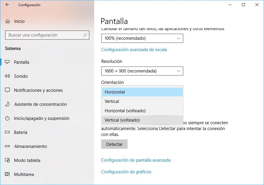 rotar pantalla en Windows 10 desde los ajustes