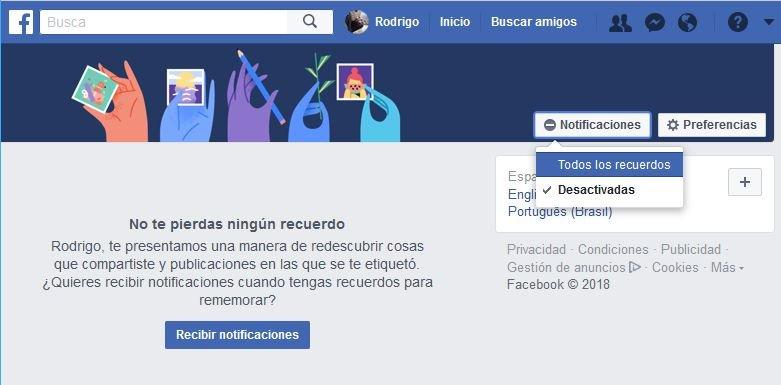 desactivar Recuerdos de Facebook facilmente