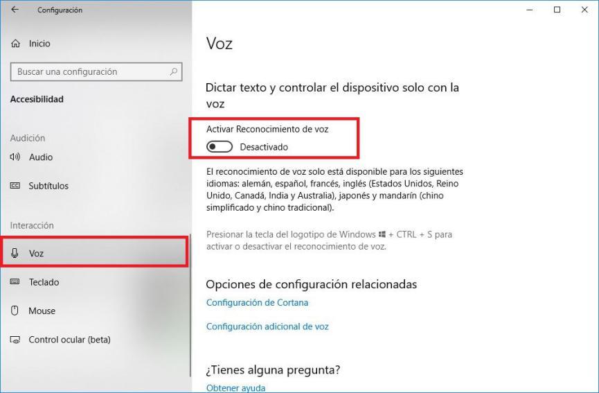 Reconocimiento de VOZ Windows 10