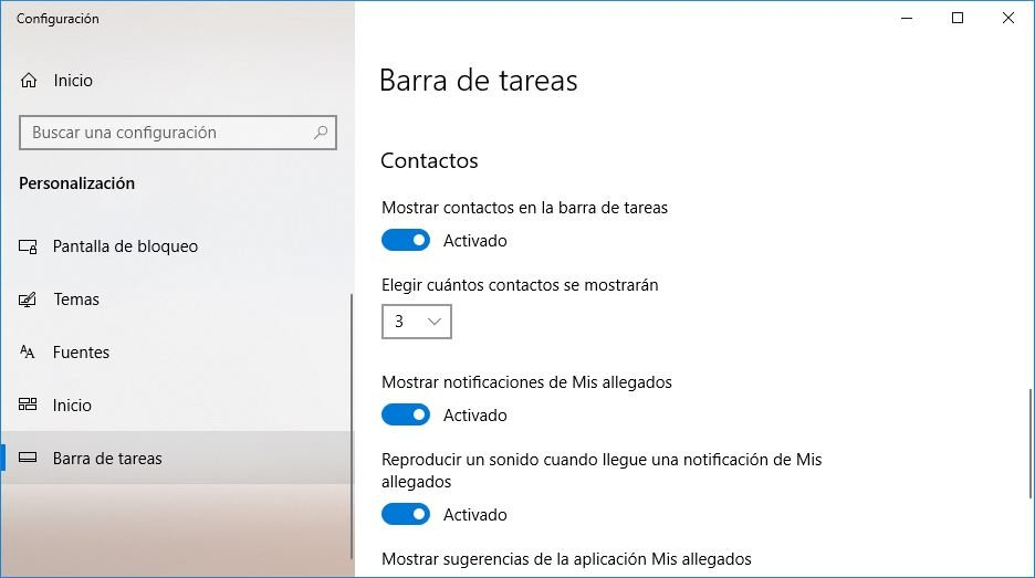 Contactos en Windows 10