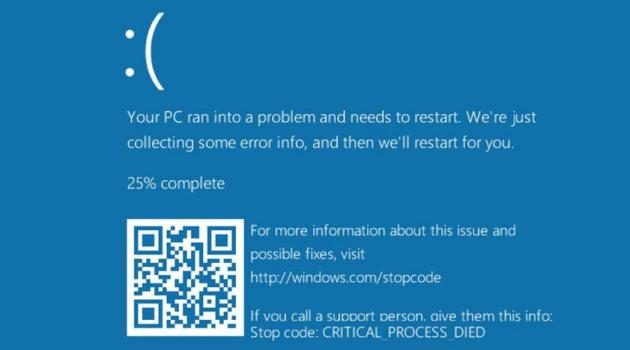 Pantala Azul de la muerte en Windows 10