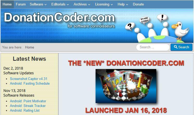 Descargar aplicaciones gratis con Donationcoder