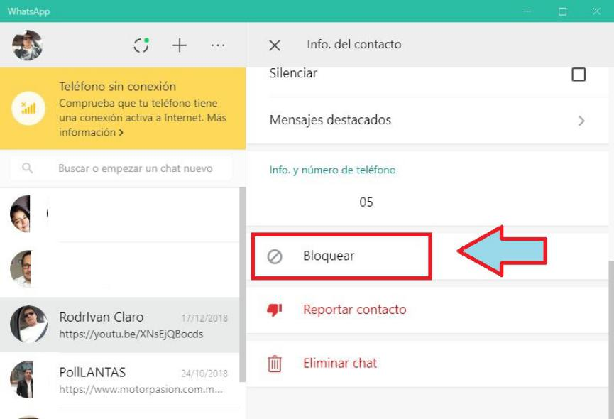 bloquear contactos whatsapp en windows