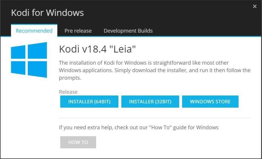 Kodi 18.4 para Windows 10