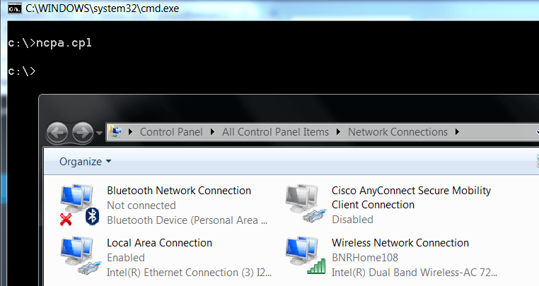 Open Network Connection from Command Line - How to
