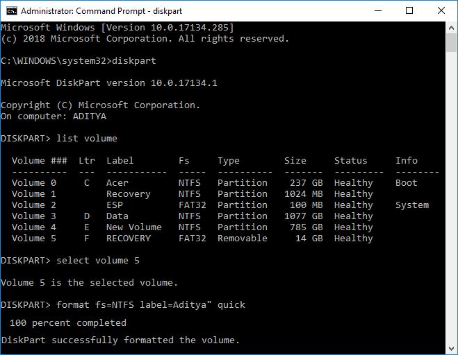 Format a Disk Windows 10