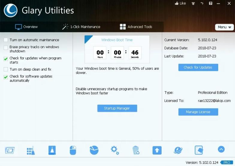 Glary Utilities Pro 5 Serial License Key Free Download 1 Year