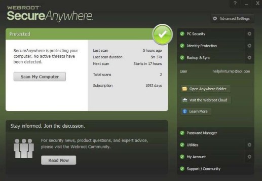 Webroot SecureAnywhere Antivirus Free for 180 days