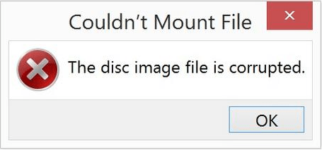 the disc image file is corrupted