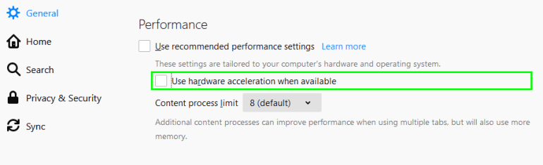 disable hardware acceleration firefox