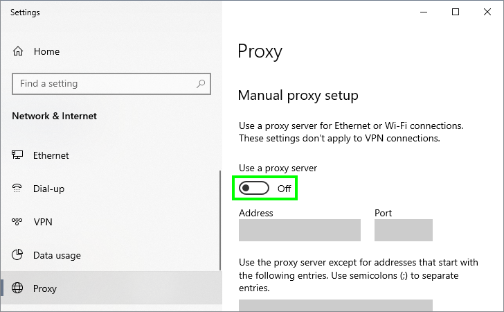 disable proxy err_connection_closed