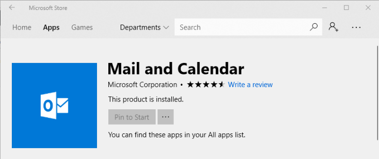 mail and calendar windows store