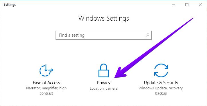 settings windows 10 privacy