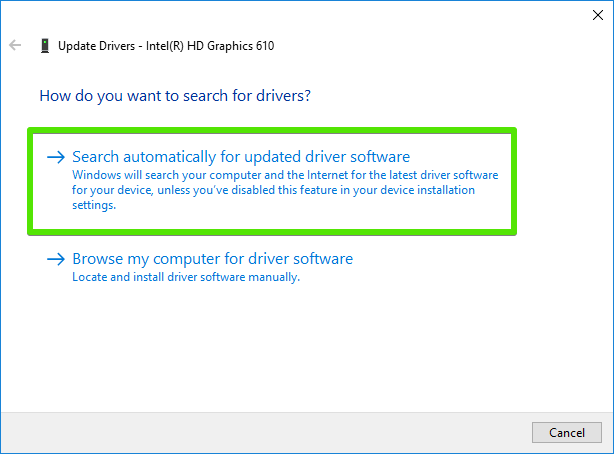 search drivers automatically windows 10