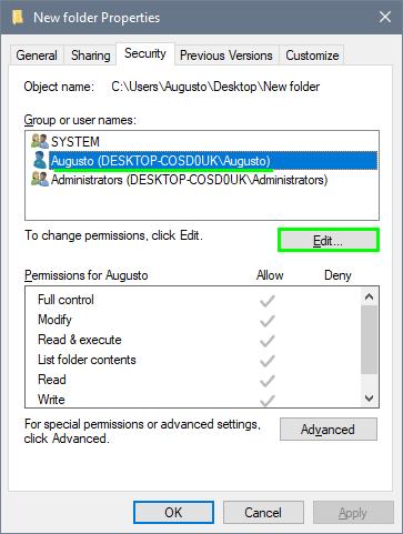 folder permission edit