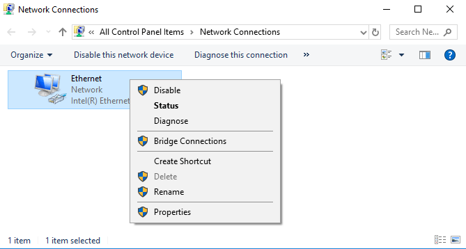 network adapter disable