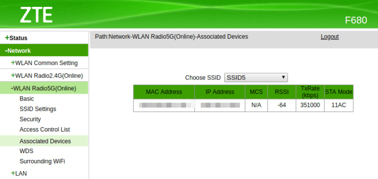 mac address of device connected to router