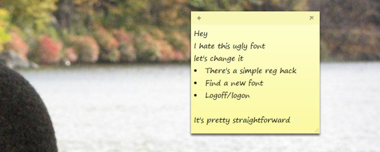 change sticky notes font