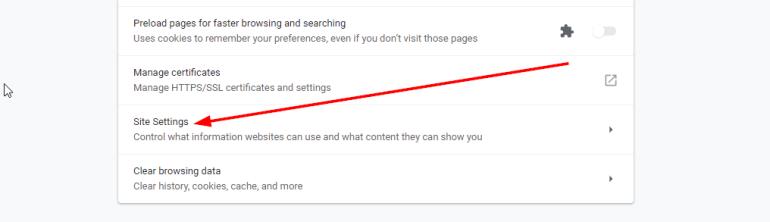 site settings chrome