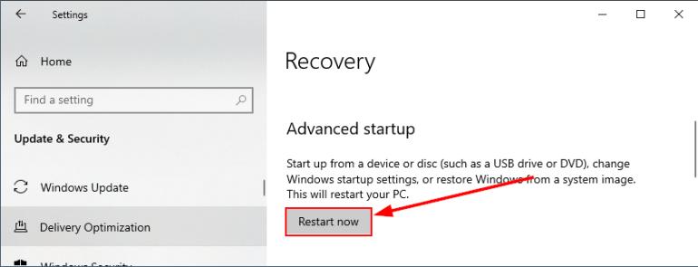 restart now recovery windows 10