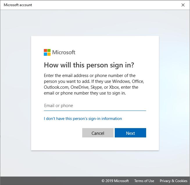 new account windows 10