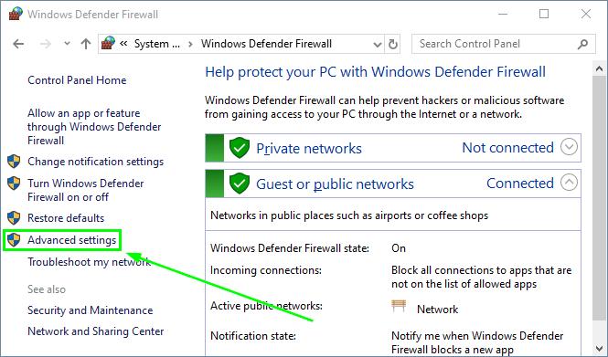 windows defender firwall advanced settings