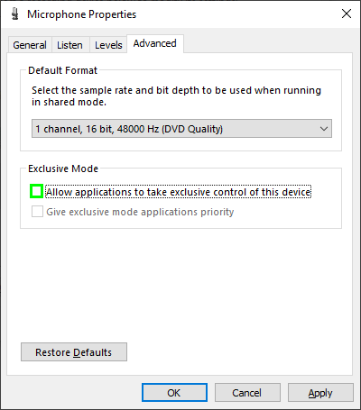 allow applications to take exclusive control of this device