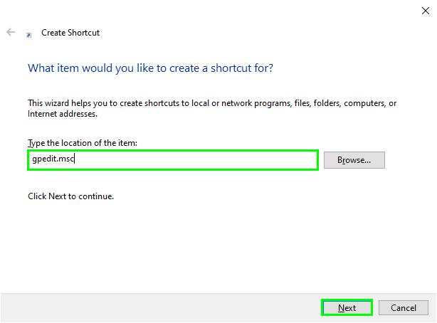 gpedit shortcut