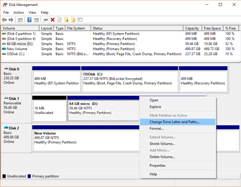 hard drive not showing up in disk management