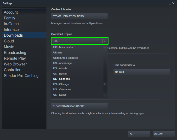 change download region steam
