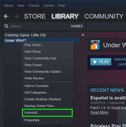 uninstall game steam