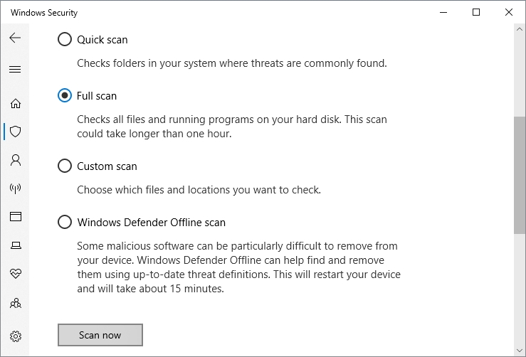 scan now windows security