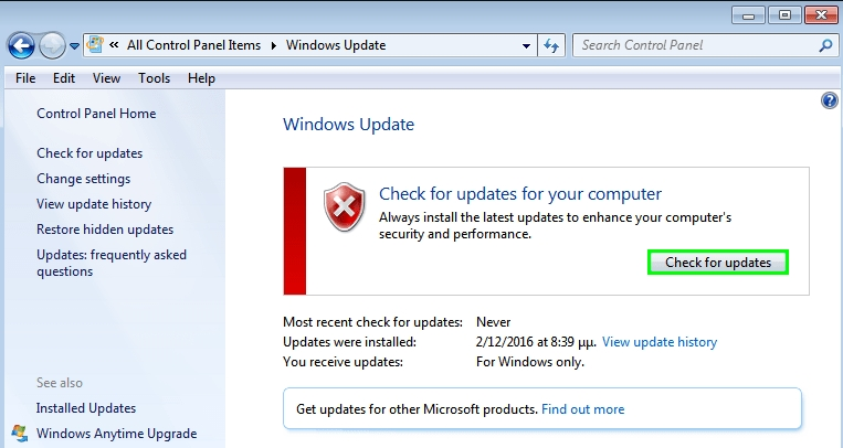 chcek for updates windows 7