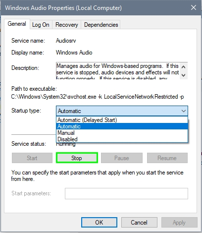 windows audio service running