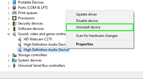 uninstall high audio definition device