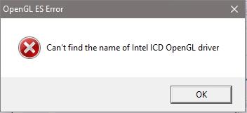 no puedo encontrar el nombre del controlador intel icd opengl