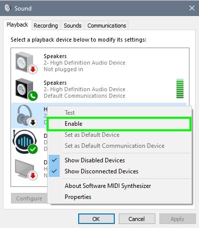 enable headphones