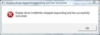 display driver nvlddmkm stopped responding and has successfully recovered