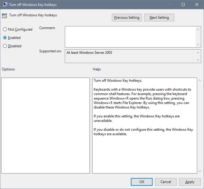 enable windows keyboard shortcuts