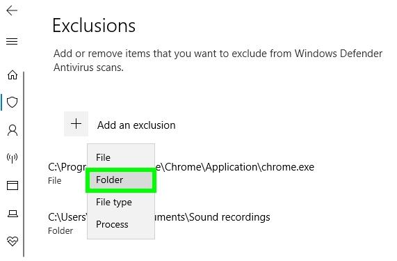 add exclusion windows defender windows 10