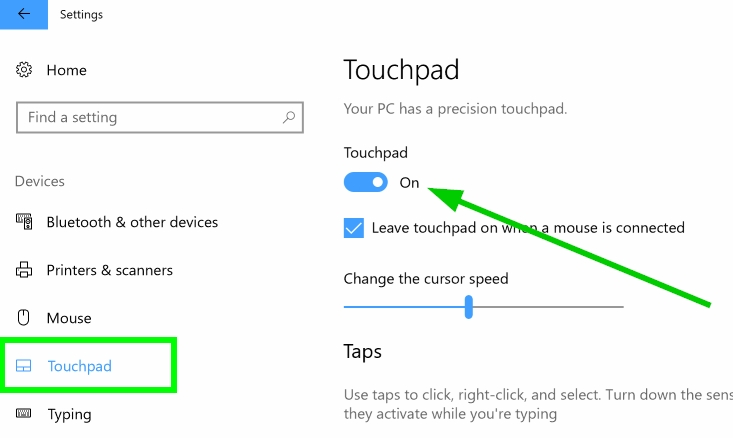touchpad settings windows 10