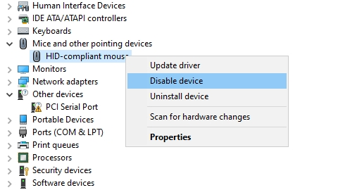 disable touchpad device manager