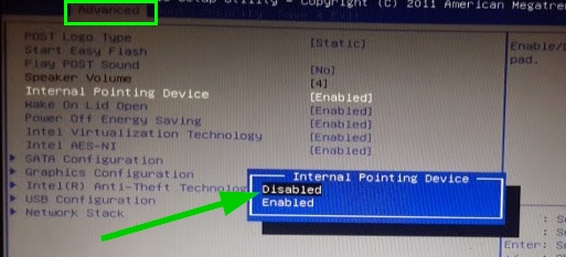 disable touchpad on bios