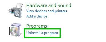 uninstall a program control panel