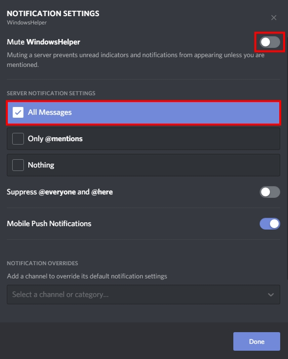 notification sounds discord