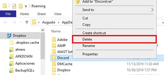 delete discord appdata
