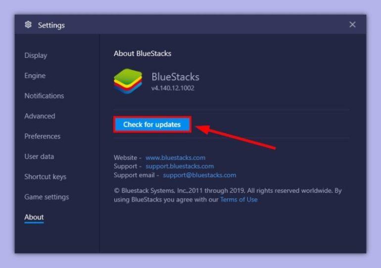 chcek for updates bluestacks