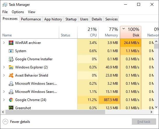 hard disk usage 100%